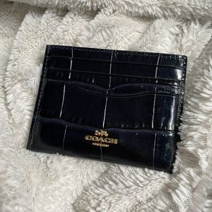 coach card case in crocodile embossed leather